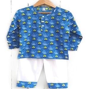 Frangipani Kids Boat Whale Print Kurta Style Pyjama Set