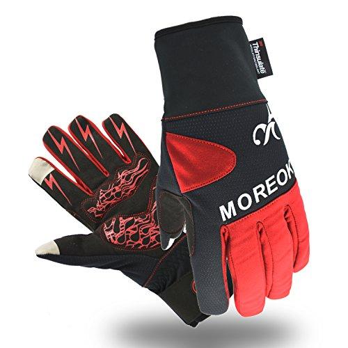 Touchscreen Handschuhe Winter Fahrradhandschuhe Warm Winddicht ,wasserdicht Skihandschuhe Winterhandschuhe für Ski,Motorrad,Fahrradfahren, Reiten, USW. (M, 3M-Rot)
