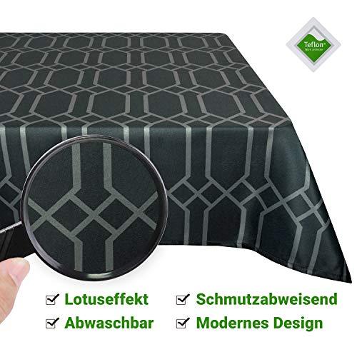 Valia Home Tischdecke Tischtuch Tafeldecke abwaschbar wasserdicht schmutzabweisend Lotuseffekt pflegeleicht Teflon behandelt eckig 140 x 280 cm grau