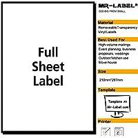 Mr-Label® trasparente completa fogli rimovibile adesivo Etichette