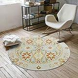 CWJ Vintage-Muster runden Teppich europäischen Stil Schlafzimmer Korb runden Teppich Home Computer Stuhl Matte,Mehrfarbig,Durchmesser 60