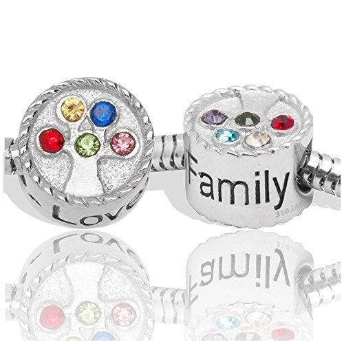 Timeline Treasures Edelstahl-Armband Perlen Strasssteine für Pandora-Anhänger Familien-Baum