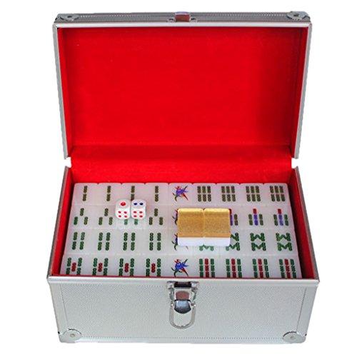LI JING SHOP - Großes Haus Handreiben Kristall Mahjong Acryl Gold Mahjong Kartengröße: 3.8 * 2.9 * 2.1CM (einzeln), 4.0 * 3.1 * 2.2CM (einzeln) 1 Satz von 144 Blättern ( Farbe : Aluminum box , größe : L-4.0*3.1*2.2CM )