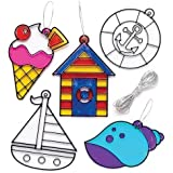 Baker Ross Seaside Suncatchers, Perfect for Children to Decorate and Sticker, Ideal for Home Crafts, School Work, Craft Group Projects and More (Pack of 8)