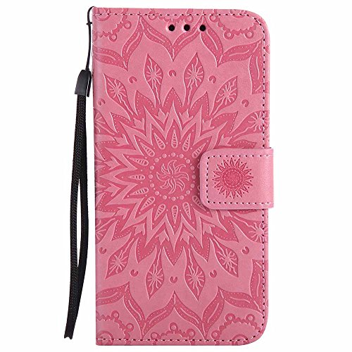 Coque Galaxy A5 2017, Dfly [Stand de Portefeuille] [Datura Fleurs de Motif ] [Fermeture Magnétique] Housse Coque Protecteur Clapet Portefeuille Cuir PU avec Fentes et Support de Rabat Cas pour Samsung Rose