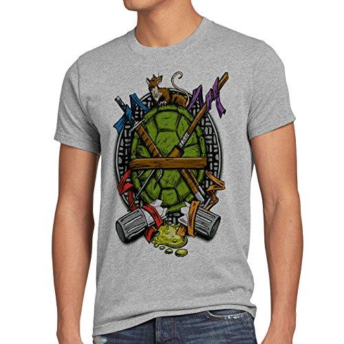 style3 Hero Turtle T-Shirt Herren turtles teenage schildkröte comic mutant, Größe:M;Farbe:Grau meliert