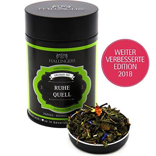 Papaya-grüner Tee (Hallingers Loser Grün-Tee mit Papaya, Mango & Ananas (80g) - Ruhequell (Premiumdose) - zu Passt immer ideal als Geschenk)