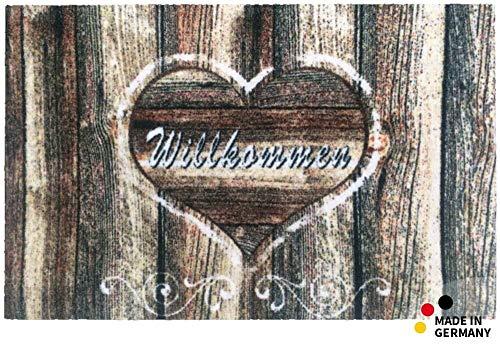 matches21 Fußmatte Fußabstreifer ESSENCE Holz-Herz Willkommen Holzoptik 50x70x0,5 cm rutschfest maschinenwaschbar