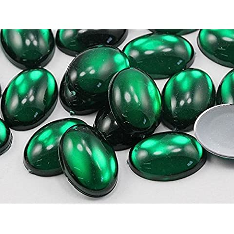 14x10mm Green Emerald .MD Flat Back Acrylic Oval Cabochon High Quality Pro Grade - 40 Pieces by