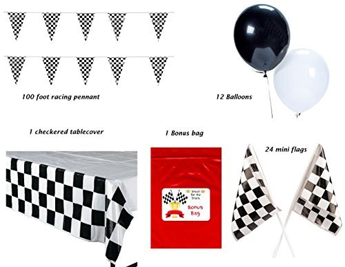 ing Party Pack Bundle Black & White Checkered (Tablecover, 100 ft Pennant Banner, Racing Finish Line flags, Balloons & Bonus Bag) (Checkered Flag Banner)