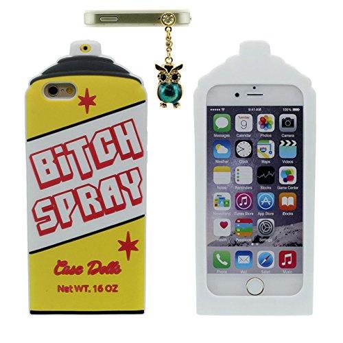 Schutzhülle für iPhone 6S Plus Hülle, Weich Slikon Gel Kreativ 3D Juice Badass Juicy Flasche Gestalten Case Stoßfest Apple iPhone 6 Plus 5.5 inch mit 1 Metall Anhänger - Blau Weiß