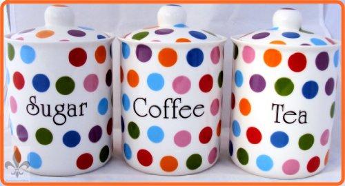 Polka Dots Lot de 3 boîtes à thé/café/sucre en porcelaine Fine furnishing décoré à la main en forme de U. K.-gratuite