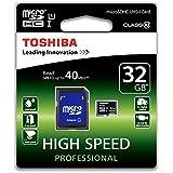 Toshiba SD-C032UHS1(6A - Tarjeta Micro SDHC de 32 GB, Clase 10 UHS-I 40 MB, con adaptador