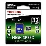 Acquista Toshiba Scheda di Memoria MicroSDHC 32 GB + Adattatore SD, 40 Mb/s, Cl 10, UHS-I, Nero