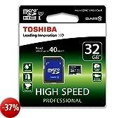 Toshiba Scheda di Memoria MicroSDHC 32 GB + Adattatore SD, 40 Mb/s, Cl 10, UHS-I, Nero