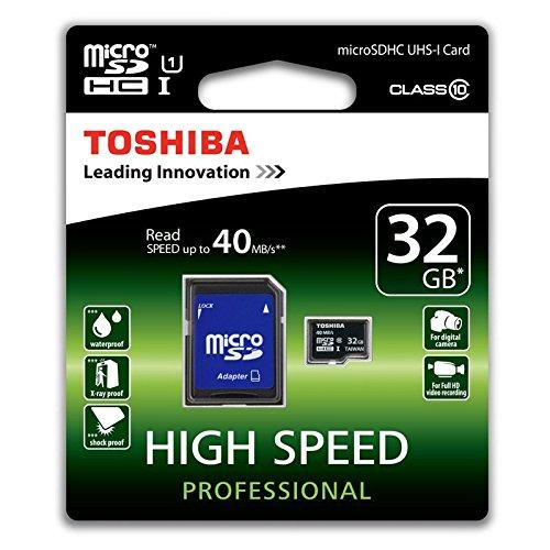 Toshiba High Speed Professional Micro SDHC 32GB Class 10 (bis zu 40MB/s lesen) Speicherkarte schwarz (Micro-sd-32gb Toshiba)