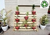 #10: Vertigo Wood Flower Pot Shelf Stand Wooden Display Rack Indoor Outdoor Garden - Madera Furnishings