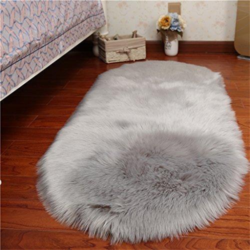 JIA JIA HOME- Piel sintética de piel de oveja esponjosa alfombra peluda, sofá decorativo Cojín 5-6cm Pile alfombra larga para sala de estar Dormitorio ventana flotante, blanca y gris ( Color : Gris , Tamaño : 50*80cm )