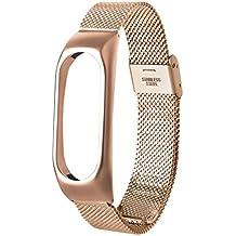 Correa de pulsera de recambio - Lenfesh Moda Acero inoxidable Correa de reloj inteligente Para pulsera Xiaomi mi Band 2 (Oro rosa)