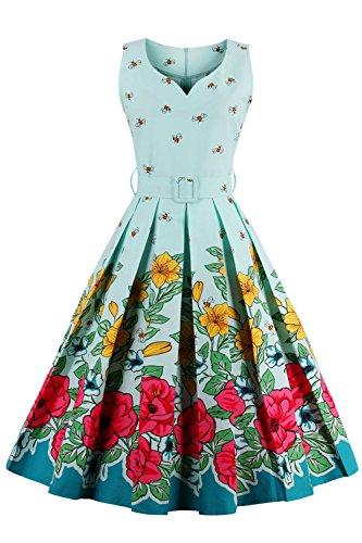 Rockabilly Kleid 1950er Retro Abendkleid Petticoat Cocktailkleid Blumenmuster Knielang Blau M
