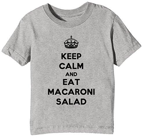 Keep Calm and Eat Macaroni Salad Kinder Unisex Jungen Mädchen T-Shirt Rundhals Grau Kurzarm Größe L Kids Boys Girls Grey Large Size L