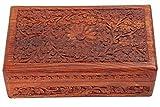 Hand geschnitzte hölzerne Schmuckschatulle Schmuck Box Keepsake Organizer Schmuck Container Aufbewahrungsbox mit voller Blumen Carving Brown Farbe Größe 6 X 4 Zoll