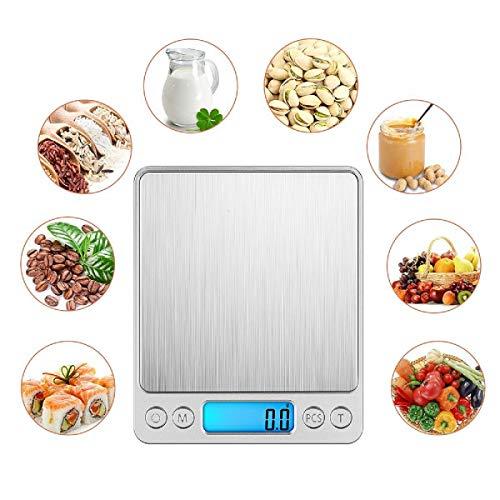 NEWROAD Digitale Küchenwaage, Digitalwaage Küche, Elektronische Waage, Hohe Präzision auf bis zu 0.1g (3kg Maximalgewicht), Tara-Funktion, LCD-Display - Lcd Elektronische Waage