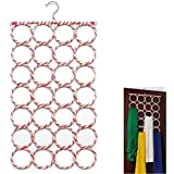 House of Quirk Fabric 28 Slot Scarf Hanger And Organizer,Multicolor