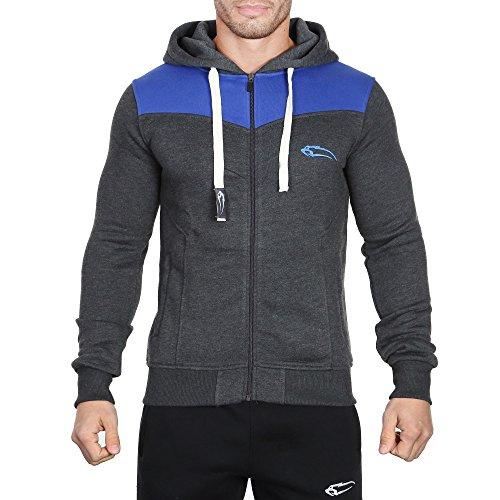 SMILODOX Kapuzenpullover Herren | Zip Hoodie für Sport Fitness Training & Freizeit | Trainingsjacke - Sportpullover - Sweatjacke - Kapuzenpulli mit Reißverschluss Anthrazit/Blau