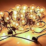 YDO Lichterkette Außen mit 25 Glühbirnen und 2 Ersatzbirnen – Erweitbare Maximal 4 Licherketten für Innen Balkon Garten Outdoor Weihnachten Party Hochzeit, Warmweiß 7.6 M Länge IP44 Wasserdicht