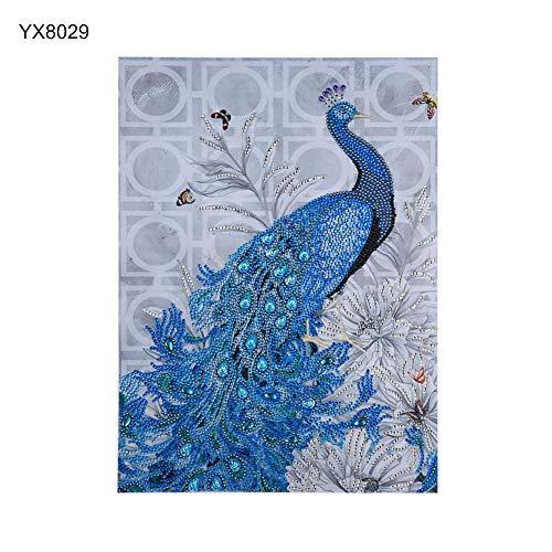 Beiguoxia Peinture en diamant faite à la main Motif paon 35 x 45 cm, 1 couleur, YX8029