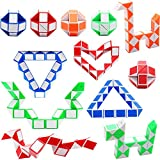 LAKIND 12 Stücke 24 Blöcke Mini Schlangen Würfel, Magische Geschwindigkeit Würfel, Mini Kunststoff Puzzle Würfel Spielzeug für Kinder Party Tasche Füllstoff, Party Favors Party Supplies (12pcs-A)
