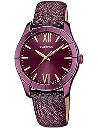 Calypso de mujer reloj de pulsera Fashion Analog piel textil de pulsera Lila Reloj de cuarzo esfera lila uk5718/5