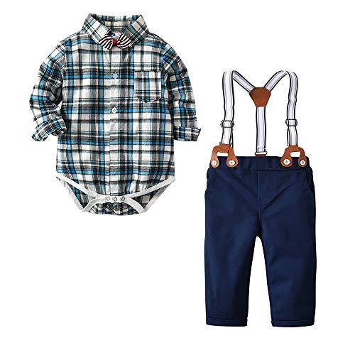 Nwada Baby Jungen Smokings Hosenträger Hosen Shirt Sets Bekleidungssets Gentleman Anzüge Sakkos Bekleidung Grau 3-6 Monates