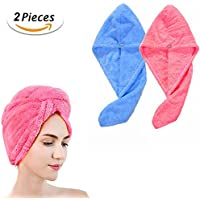 Cheveux Secs Cap, JUSTIME Superfine Fibre doux Serviette de Bain Head Wrap Turban (lot de 2 pcs, Bleu et Rose)