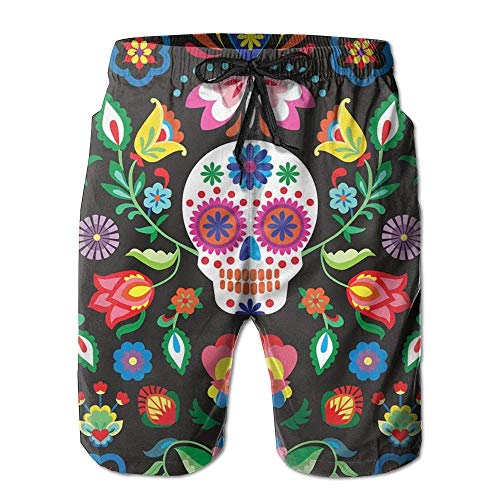 Beach Shorts, Sugar Skull Beach Lounge Shorts for Men Boys, Outdoor Short Pants Beach Accessories,Size:M -