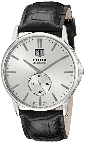 Edox Edox Les bèmonts–Reloj unisex Big Fecha Esfera Analógica Pantalla y oro piel 640123minas