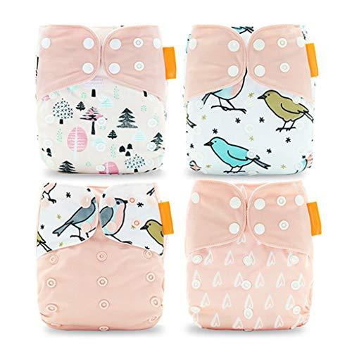 Windy5 4pcs Baby-Mehrwegwindeln waschbarer Polyester-Tuch-Windel Geeignet für Kleinkind-Alter 0-3 Jahre alt