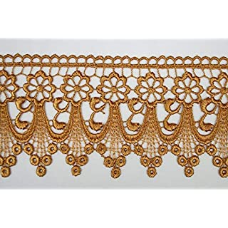 Altotux 3 Gold Embroidered Floral Scalloped Venice Lace Trim Victorian Guipure Sewing Supplies By Yard (UB004) by Altotux