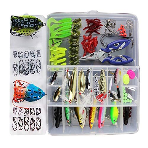 Spring-box-set (Fishinghappy 233 Stück 1 Set Forellenbarsch Lachs Angelhaken Jigs Würmer Gewichte Köder Minnow Crankbait VIB Swimbait für Barsch Hecht Salzwasser Süßwasser)