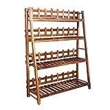 Home experience Soporte de Maceta Plegable 4 Tier Planta de jardín Display Ladder Jardinero Almacenamiento de Madera Estantes Rack Herb Holder (Tamaño : 80x116cm)