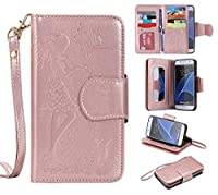 Galaxy S7 Case, KKEIKO® Galaxy S7 Wallet Case [with Free Tempered Glass Screen Protector], PU Leather Flip Cover with Card Slots, Hand Strap and Stand, Wallet Book Style Holster Case with Shock-Absorption Cover for Samsung Galaxy S7 (Pink Girl)