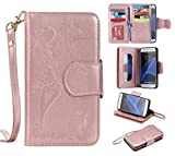 BoxTii Galaxy S7 Case, Premium Leather Wallet Case with [Free Tempered Glass Screen Protector] for Samsung Galaxy S7, Shockproof Magnetic Flip Cover Case for Galaxy S7 (#9 Rose Gold)