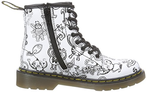 Dr. Martens DELANEY Wiggy World WHITE Unisex-Kinder Biker Boots Kurzschaft Stiefel & Stiefeletten Weiß (White)