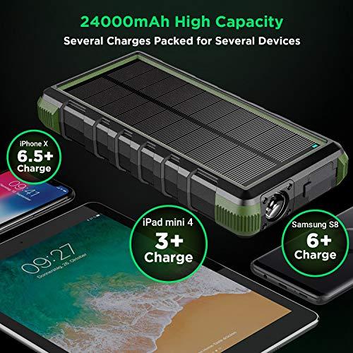 EasyAcc Externer Akku 20000mAh Outdoor Power Bank mit IP67 Zertifizierung Wasserdicht Staubdicht Sowie Stoßfest, 3 Leuchtmodis Taschenlampenfunktion für iPhone, iPad, Samsung Galaxy und Viele Andere - 6