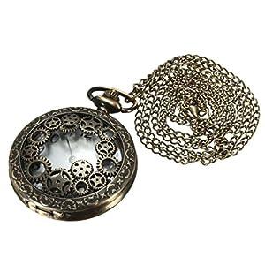 SODIAL(R) Retro Steampunk Taschenuhr Quarz Kettenuhr Uhren Anhaenger Halskette Geschenk