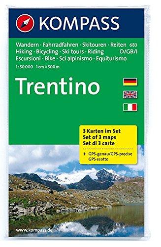 Preisvergleich Produktbild Trentino: Wanderkarten-Set in der Schutzhülle mit Radrouten, Skitouren und Reitwegen. GPS-genau. 1:50000 (KOMPASS-Wanderkarten, Band 683)
