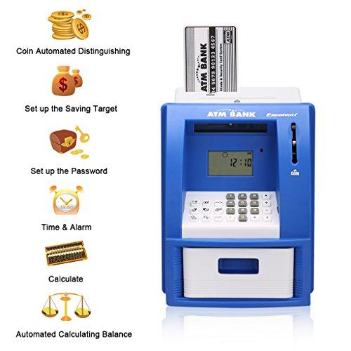 Excelvan LK-G907 - Mini Cajero ATM Banco Hucha Digital Contable Toy con contraseña, juguete educativo para niños , Azul