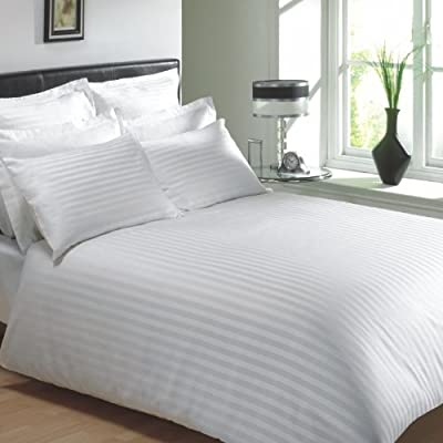 VICEROY BEDDING 100% Egyptian Cotton, CLASSIC STRIPE Housewife Pillow Cases, White, Pair 400 Thread Count - low-cost UK light shop.