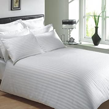 hotel luxury egyptian cotton rich stripe single duvet cover in white amazoncouk kitchen u0026 home